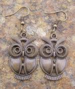 Owl Earrings, Bronze Colour Charm and Hooks Modern Style