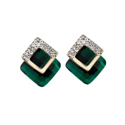 Pu Ran Women Concise Rhinestone Inlaid Square Stud Earrings Banquet Party Jewellery Gift