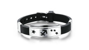 Bishilin Stainless Steel Bracelet for Men 12 Constellations Cuff Silicone Bracelets Black Silver