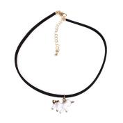 Fashion Unicorn Pendant Charm Black Faux Leather Horse Necklace Chain Women Jewellery