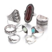 Ring,Saingace 8PCS Vintage Women's Boho Crystal Flower Knuckle Ring Tibetan Turkish