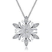 NYKKOLA Beautiful Christmas Jewellery Fashion Platinum Cubic Zirconia Snowflake Pendant Necklace Xmas Gift