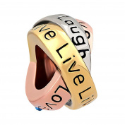 Sug Jasmin Jan-Dec Birthstone Live Love Laugh Charm Trinity Ring Lucky Beads
