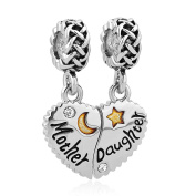 Sug Jasmin Heart Love Mother Daughter Charm For Mum Beads Fit European Bracelets