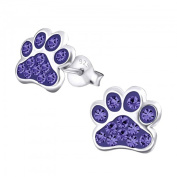 Tanzanite Crystal Paw Print Sterling Silver Stud Earrings 9MM