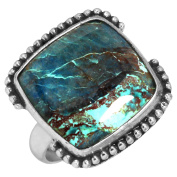 Solid 925 Sterling Silver Ring Natural Shattuckite Gemstone Handmade Jewellery Size P