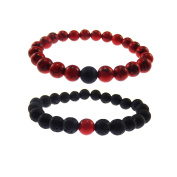 Mens Womens Bangle Couples His and Hers Gemstone Matching Set Bracelets Red Howlite