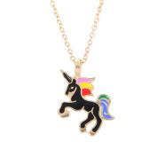 Women's Enamel Unicorn Alloy Pendant Clavicle Chain Necklace Jewellery Gift
