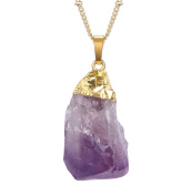 JDGEMSTONE Cyber Monday Christmas Gift Gold Plated Raw Irregular Amethyst Pendant Necklace, Earrings, Jewellery Set for Women - A Cute Gifts