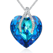 "Angelady""Wish Bone"" Blue Love Heart Pendant Necklace with Amethyst for Girlfriend Wife, Crystal from"