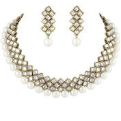 I Jewels Kundan and Beads Choker Necklace Set For Women