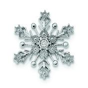 23.3mm Sterling Silver Rhodium Diam. Snowflake Chain Slide