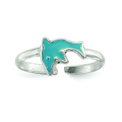 Sterling Silver Polished Enamelled Dolphin Toe Ring