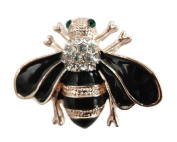 Signature Crystal Rose Gold Bumble Bee Brooch