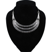 2017 New Luxury Vintage Silver Bronze Three Layer Pendant Maxi Necklaces Women Big Gypsy Choker Statement Necklace