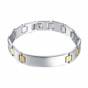 Onefeart Stainless Steel Bracelet for Men Boy Curved Tag Bracelet Simple Design 21.7CM x1.3CM Silver Gold