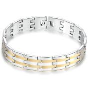 Onefeart Stainless Steel Bracelet for Men Boy Classic Style Fashion Bracelet 23CM x1.4CM Silver Gold