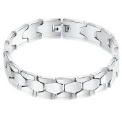 Onefeart Stainless Steel Bracelet for Men Boy Rhombus Bracelet High Polished 22CM x1.4CM Silver