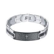Onefeart Stainless Steel Bracelet for Men Boy The Bible Cross Pattern 20CM x1.6CM Black Silver