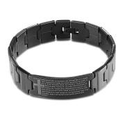 Onefeart Stainless Steel Bracelet for Men Boy Bible Cross Pattern Unique Design 22CM x1.6CM Black