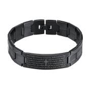 Onefeart Stainless Steel Bracelet for Men Boy Cross Shape And Biblical Designs 21CM x1.5CM Black