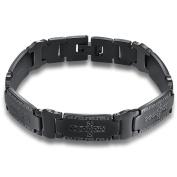 Onefeart Stainless Steel Bracelet for Men Boy Carved Cross Shape Lace Bracelet 21CM x1.2CM Black