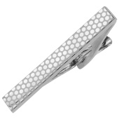 CUFF IT Stylish Tie Clips Tie Pins 4.5 CM, Laser with Glossy Circle Dots Mens Accessories with Gift Box