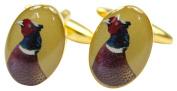 Gold Pheasant Head Country Cufflinks by David Van Hagen