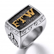 JAJAFOOK Jewellery Men's Stainless Steel Punk Biker Rings with Letters FTW,Gold Silver Plated