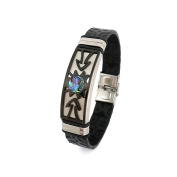 Tiki Man Arrow Leather Bracelet and Mother Of Pearl Blue Espresso