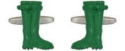 Novelty Green Wellington Boot Cuff Links In Polished Stainless Steel & Enamel By Dalaco - The Ideal Gift For All Wellie Lovers