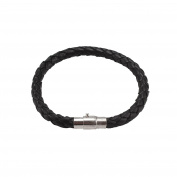 Multiware Men's Leather Braided Wristband Bracelet with Stainless Steel Clasp