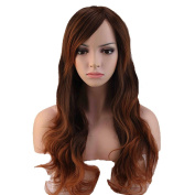 Charming Women's Long Full Wigs Heat Resistant Synthetic Natural Curly Wavy Hair Ombre Dip Dye Daily Wig Party Costume
