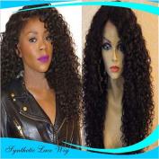 MZP African black wig fashion long curly hair chemical wig half hook hook wig , 50cm