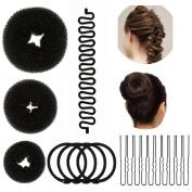 Lictin 17pcs Hair Styling Tools Fashion Hair Design Styling Tools Accessories DIY Hair Accessories Women Donut Bun Maker Hair Bun Maker Ring Style Bun Maker Set and French Braiding Maker