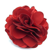rougecaramel – Accessories 7.5 cm Red Fabric Hair Flower Clip Pin