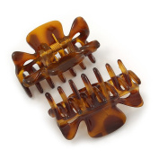 Set of 2 Small Shiny Tortoise Shell Effect Acrylic Hair Claws/ Clamps - 35mm Long