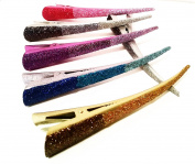 6 Clips/Hair Clips Metal (Luxury) Multicolor Bright (13 x 2 cms) High Quality