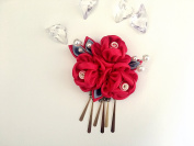 Tsumami Kanzashi Hair Clip/Handmade Kanzashi Fabric Flower Hair Clip/Maiko/Japnese Geisha's Hair pieces/Red Kanzashi Floral Bridal Hair Clip/ Wedding Hair Ornaments