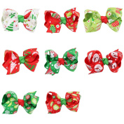 Baby Hair Clips - Kfnire 8pcs Colourful Christmas Hair Clips Barrettes Holiday Hair Accessories for Baby Kid Girls