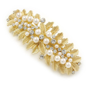 Large Bright Gold Tone Matt Diamante Faux Pearl Leaf Barrette Hair Clip Grip - 90mm Across