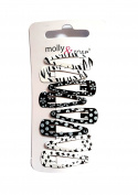 8 Small Kids Childrens Black and White Mix Hair Clips Hair Grips Snap on Slides