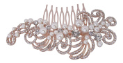 Pick A Gem Wedding Hair Accessories Vintage Rose Gold Diamante Pearl Cluster Bridal Hair Comb