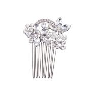 Feyarl Mini Hair Comb Rhinestones Flower Hair Clip for Wedding Prom Party Hair Decoration Silver