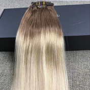 Full Shine 36cm 7 Pcs 120 Gramme Colour 6B Fading to 613 Blonde Ombre Balayage Extensions of Remy Human Hair Clip in Extensions Human Real Hair Clip in Extensions