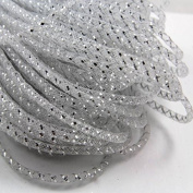 Beads4Crafts White/Silver Pattern Crinoline Tube 5mm (1 Metre) CC675