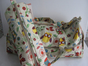 Knitting/Craft Bag - double fabric handles - showing cartoon owls on a beige background together with matching knitting pin zipped case