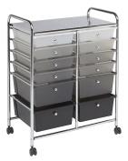 ECR4Kids 12-Drawer Mobile Organiser, 80cm H, Grey