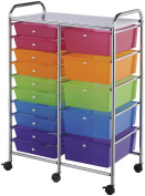 Blue Hills Studio Double Storage Cart With 15 Drawers-Multi-Colour SC15MCDW
