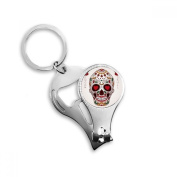 Flower Cirrus Heart-shape Eyes White Sugar Skull Mexico Culture Metal Key Chain Ring Multi-function Nail Clippers Bottle Opener Car Keychain Best Charm Gift